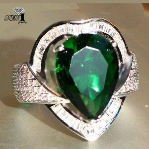 Green cz 925 silver ring